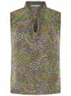 Блузка свободного силуэта без рукавов oodji #SECTION_NAME# (зеленый), 14901420/36215/6280E