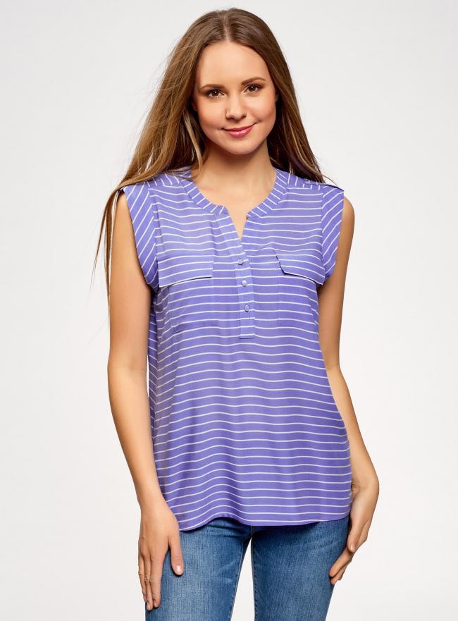 Блузка вискозная с нагрудными карманами oodji #SECTION_NAME# (фиолетовый), 21412132-5B/24681/8012S