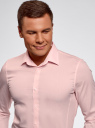 Рубашка базовая приталенная oodji #SECTION_NAME# (розовый), 3B140000M/34146N/4100N - вид 4