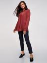 Блузка с нагрудными карманами и регулировкой длины рукава oodji #SECTION_NAME# (красный), 11400355-8B/48458/4900N - вид 6