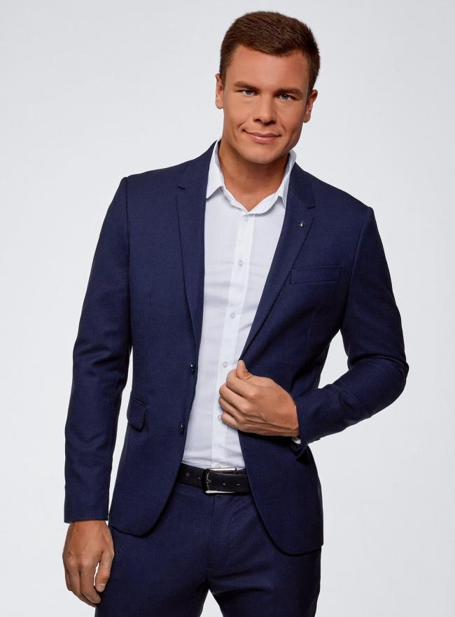 Пиджак приталенный на пуговицах oodji #SECTION_NAME# (синий), 2L420234M/48579N/7900O