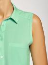Топ вискозный с нагрудным карманом oodji для женщины (зеленый), 11411108B/26346/6500N - вид 5