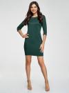 Платье трикотажное с рукавом 3/4 oodji для женщины (зеленый), 24001100-2/42408/6E00N - вид 2
