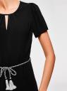 Платье с вырезом-капелькой и поясом на резинке oodji #SECTION_NAME# (черный), 11913043/46633/2900N - вид 5