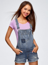 Комбинезон джинсовый с модными потертостями oodji #SECTION_NAME# (синий), 13109056/42559/7900W - вид 2