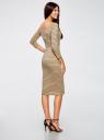 Платье облегающее с вырезом-лодочкой oodji для женщины (бежевый), 14017001-1/37809/3329S