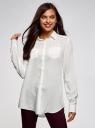 Блузка с нагрудными карманами и регулировкой длины рукава oodji #SECTION_NAME# (белый), 11400355-8B/48458/1200N - вид 2