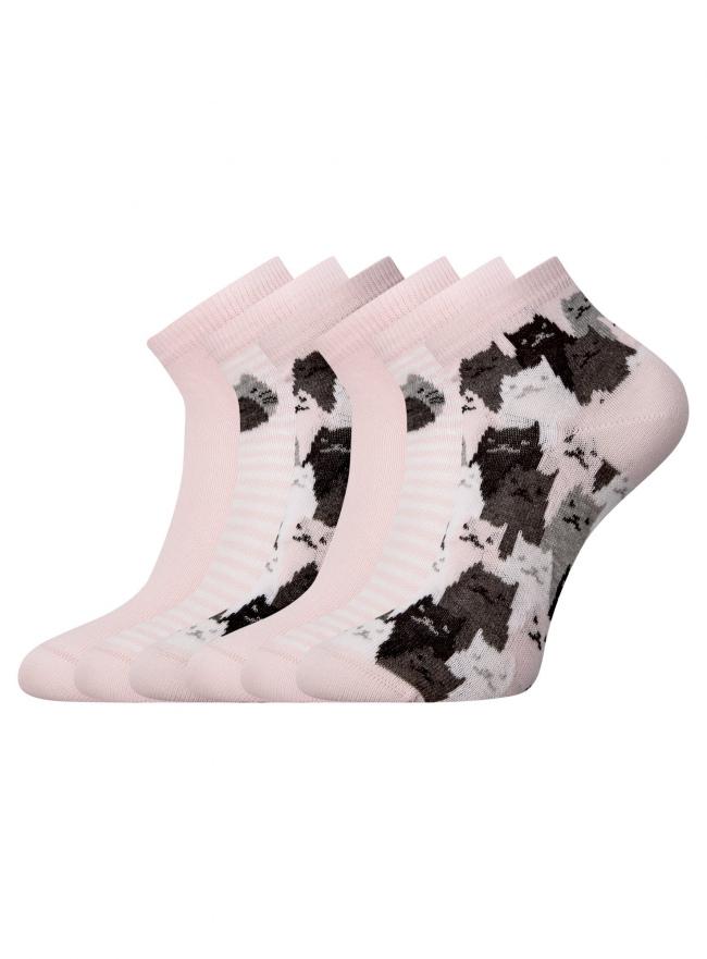 Комплект из шести пар хлопковых носков oodji для женщины (розовый), 57102418-5T6/48418/11