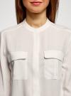Блузка вискозная с регулировкой длины рукава oodji #SECTION_NAME# (белый), 11403225-9B/48458/1200N - вид 4