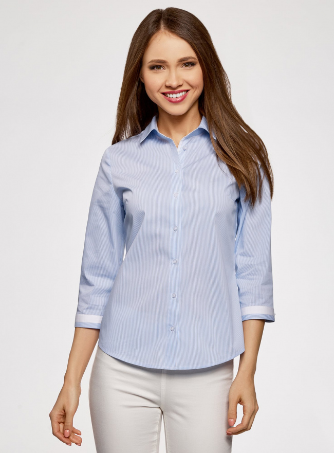 Блузка с контрастной отделкой и рукавом 3/4 oodji #SECTION_NAME# (синий), 13K03005-1/46440/1070O