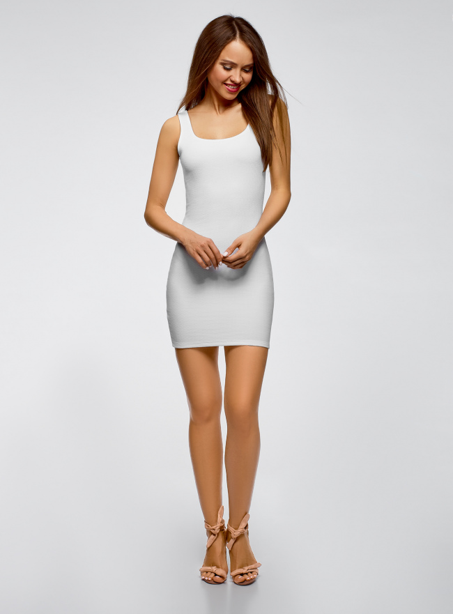 Платье-майка трикотажное облегающее oodji для женщины (белый), 14001210/48152/1000N