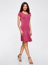 Платье трикотажное с воланами oodji #SECTION_NAME# (розовый), 14011017/46384/4700N - вид 6
