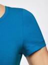 Футболка базовая приталенная (комплект из 3 штук) oodji для женщины (синий), 14701005T3/46147/7501N