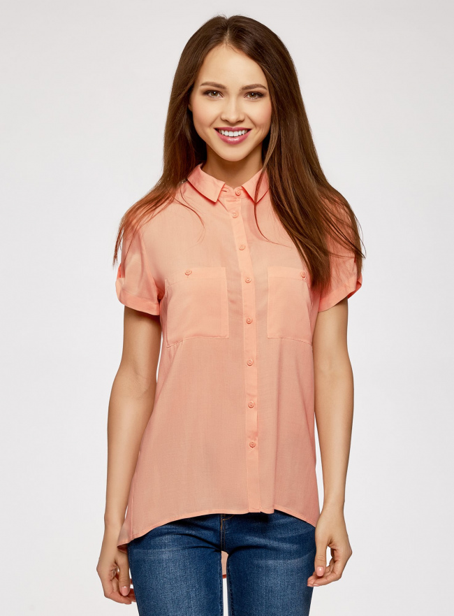 Блузка из вискозы с нагрудными карманами oodji #SECTION_NAME# (оранжевый), 11400391-4B/24681/5400N