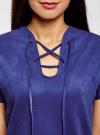 Платье из искусственной замши с завязками oodji #SECTION_NAME# (синий), 18L00001/45778/7500N - вид 4