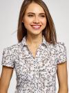 Блузка принтованная из легкой ткани oodji #SECTION_NAME# (слоновая кость), 21407022-7M/12836/1262F - вид 4