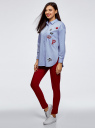 Рубашка oversize с нашивками oodji для женщины (синий), 13K11004/42785/7000N