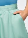 Юбка хлопковая A-образного силуэта oodji для женщины (бирюзовый), 11600420-3/42841/7300N