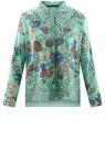 Блузка свободного силуэта с цветочным принтом oodji #SECTION_NAME# (бирюзовый), 21411109/46038/7319F