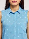 Топ вискозный с нагрудным карманом oodji для женщины (синий), 11411108B/26346/7510Q - вид 4