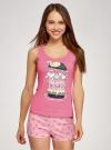 Пижама с шортами и принтом oodji #SECTION_NAME# (розовый), 56002152-21/46158/4D41P - вид 2