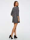 Платье с карманами и отделкой из искусственной кожи oodji #SECTION_NAME# (черный), 12C02003/43299/2979E - вид 3