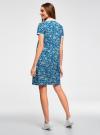 Платье-поло из ткани пике oodji #SECTION_NAME# (синий), 24001118-2/47005/7010E - вид 3