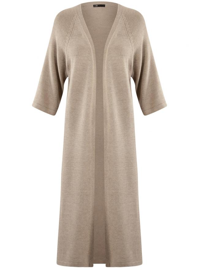 Кардиган удлиненный без застежки oodji для женщины (бежевый), 63207188/46404/3500M