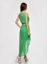 Платье без рукавов с асимметричным низом oodji #SECTION_NAME# (зеленый), 21901109-2/17288/6A00N - вид 3