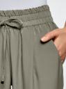Брюки на резинке с завязками oodji для женщины (зеленый), 23F05001B/35184/6600N