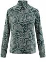 Блузка принтованная из шифона oodji #SECTION_NAME# (зеленый), 11400394-5/36215/6912E