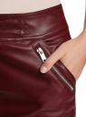 Юбка из искусственной кожи с молниями oodji для женщины (красный), 18H00009/45902/4900N