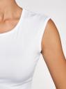Футболка приталенного силуэта с круглым вырезом oodji для женщины (белый), 14708021B/46943/1000N