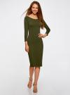 Платье облегающее с вырезом-лодочкой oodji для женщины (зеленый), 14017001-6B/47420/6800N - вид 2