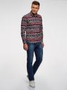 Рубашка приталенная с новогодним принтом oodji #SECTION_NAME# (разноцветный), 3L110347M/19370N/7912G - вид 6