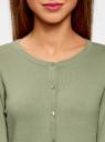 Кардиган вязаный с круглым вырезом oodji для женщины (зеленый), 63212568B/45576/6000N