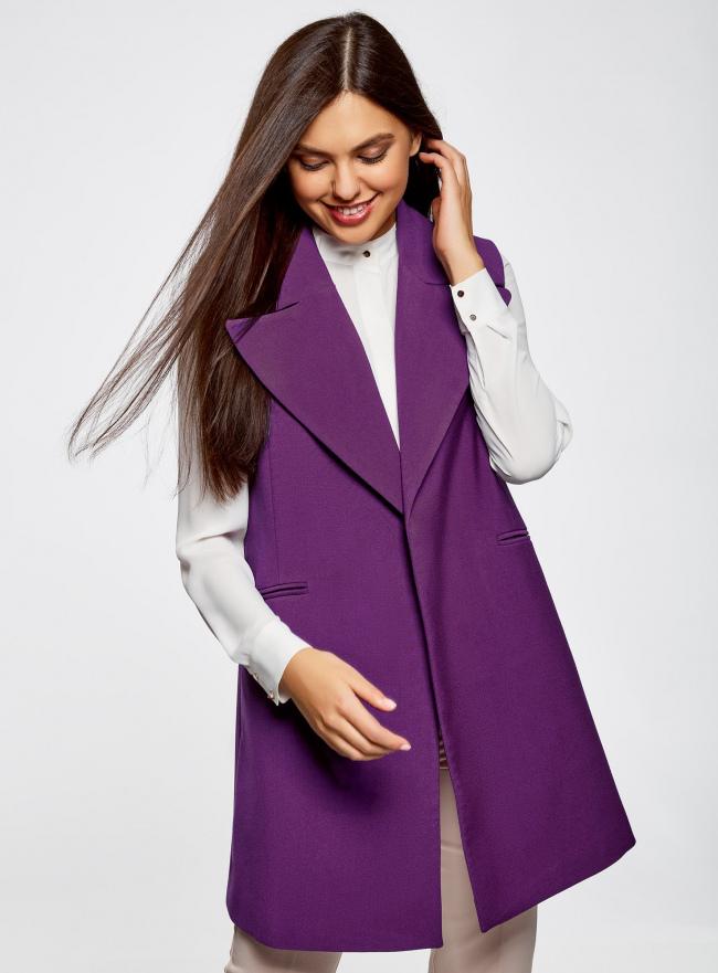 Жилет удлиненный с объемными лацканами oodji для женщины (фиолетовый), 22305003/38095/8300N