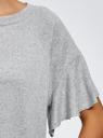 Футболка прямого силуэта с воланами на рукавах oodji для женщины (серый), 14707008/15640/2000M