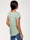Блузка с коротким рукавом и V-образным вырезом oodji #SECTION_NAME# (зеленый), 11411100/45348/6500N - вид 3