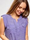 Блузка вискозная с нагрудными карманами oodji #SECTION_NAME# (фиолетовый), 21412132-5B/24681/8012S - вид 4