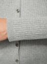 """Жакет связанный """"в резинку"""" oodji #SECTION_NAME# (серый), 73212374/45755/2000M - вид 5"""