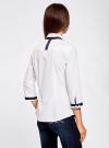 Рубашка с контрастной отделкой и рукавом 3/4 oodji #SECTION_NAME# (белый), 11403201-2B/26357/1000N - вид 3