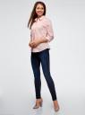 Блузка хлопковая с рукавом 3/4 oodji #SECTION_NAME# (розовый), 13K03005B/26357/4010B - вид 6