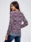 Блузка прямого силуэта с V-образным вырезом oodji #SECTION_NAME# (разноцветный), 21400394-3M/24681/2949E - вид 3