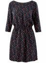 Платье вискозное с рукавом 3/4 oodji #SECTION_NAME# (синий), 11901153-1B/42540/7957O