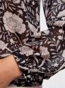 Блузка принтованная с завязками oodji #SECTION_NAME# (черный), 21418013-2/17358/2933F - вид 5