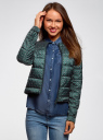 Куртка стеганая с круглым вырезом oodji #SECTION_NAME# (зеленый), 10203072B/46708/6C12G - вид 2