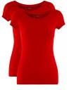 Комплект приталенных футболок (2 штуки) oodji для женщины (красный), 14701005T2/46147/4500N