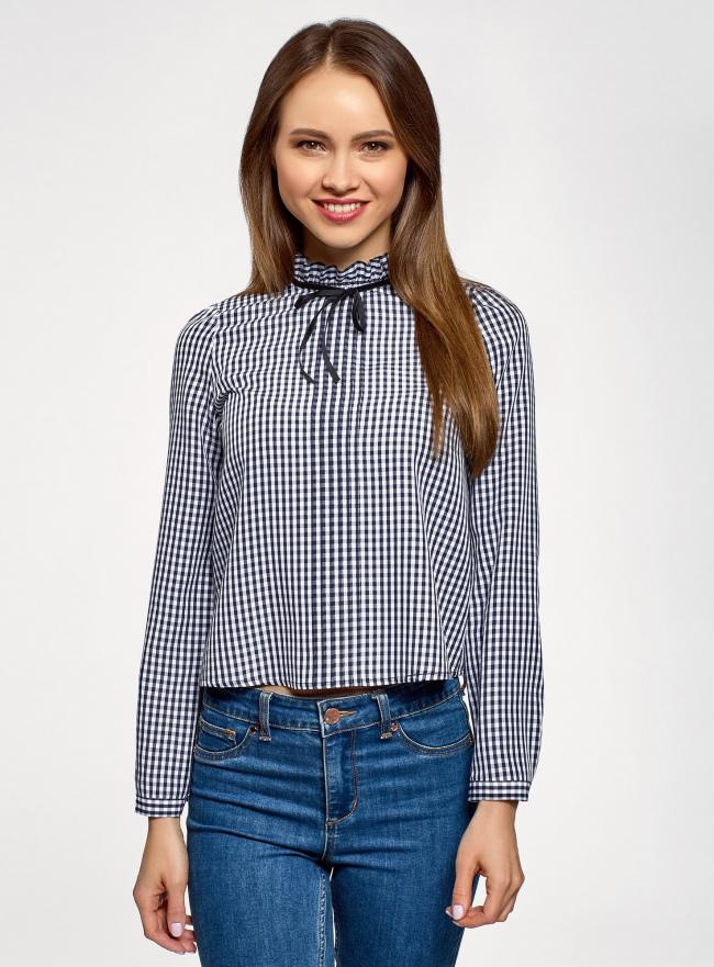 Блузка укороченная с завязками на воротнике oodji для женщины (синий), 11411091/45150/7912C