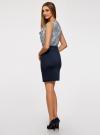 Платье трикотажное комбинированное oodji #SECTION_NAME# (синий), 14005124-1/42376/7912E - вид 3